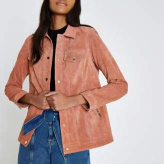 River Island Dark pink suede trucker jacket