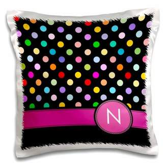 N. 3dRose Letter monogrammed on rainbow polka dots pattern with hot pink personal initial - girly multicolor - Pillow Case, 16 by 16-inch
