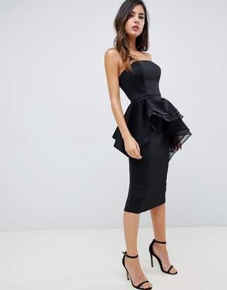 Asos DESIGN premium bandeau peplum bodycon midi dress with organza