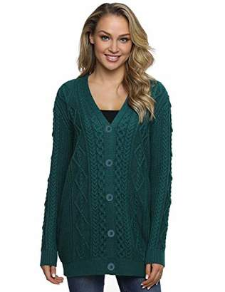 Lynz Pure Women's Cardigan Sweaters Button Up Knitwear Oversized Cable Knit Outwear XL