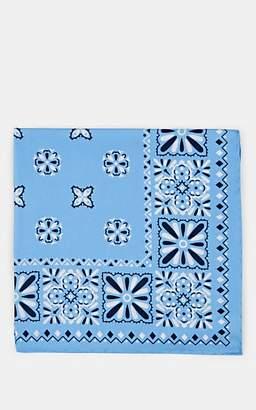 Paolo Albizzati Men's Bandana-Print Silk Pocket Square - Lt. Blue