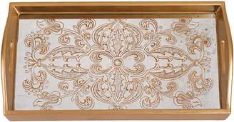 Badash Crystal Manta Gold Reverse Painting On Rectangle Tray