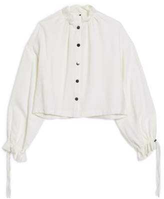 Topshop Ruffle Collar Snap Shirt