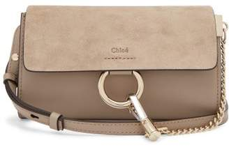 Chloé Faye Mini Leather And Suede Cross Body Wallet Bag - Womens - Grey