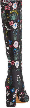 Valentino Floral-Painted Leather Knee-High Boots