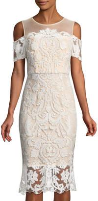 Jax Cold-Shoulder Lace Illusion Dress