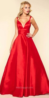 Mac Duggal Deep V-back Satin Ball Gown $398 thestylecure.com