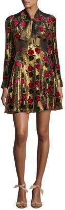 Anna Sui Women's Metallic Floral Mini Dress