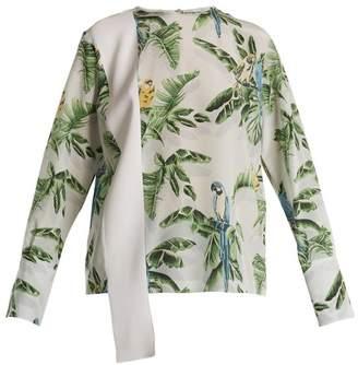 Stella McCartney Parrot Print Silk Crepe De Chine Top - Womens - White Print