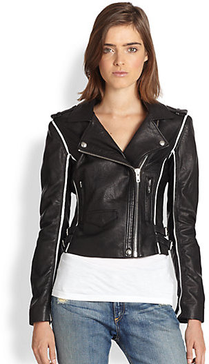 IRO Ashvie Stripe Leather Moto Jacket