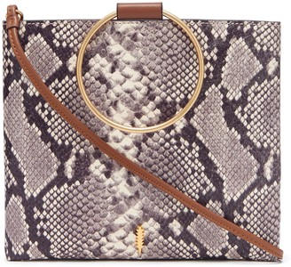 THACKER Le Pouch Snake Embossed Leather Ring Handle Crossbody Bag