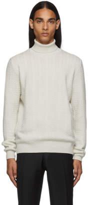 Ermenegildo Zegna White Premium Cashmere Turtleneck