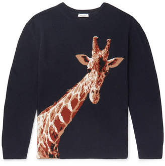 Valentino Giraffe-Intarsia Merino Wool And Cashmere-Blend Sweater