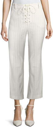 Veronica Beard Allegra Cropped Lace-Up Pants