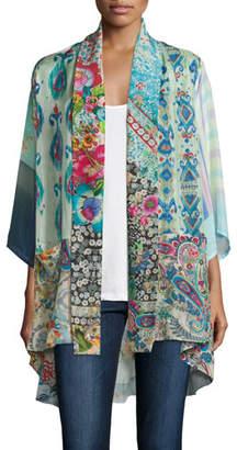 Johnny Was Mixed-Print Tie-Front Silk Kimono, Petite