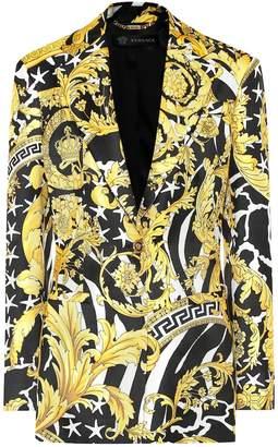Versace Printed silk twill blazer