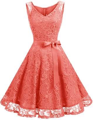 Dressystar DS0010 Women Floral Lace Bridesmaid Party Dress Short Prom Dress V Neck XXL