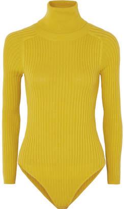 L.F.Markey - Axel Ribbed Stretch-cotton Jersey Turtleneck Bodysuit - Mustard