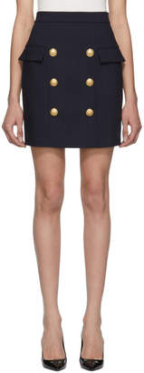 Balmain Navy Wool Double-Breasted Miniskirt