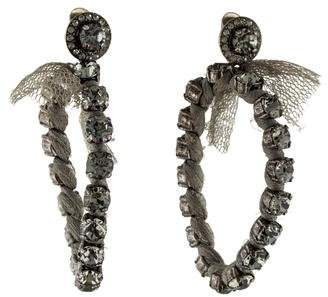 Lanvin Woven Silk Crystal Clip-On Earrings