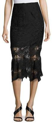 Jonathan Simkhai Lace Midi Pencil Skirt, Black $595 thestylecure.com