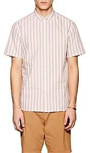 Theory Men's Murrary Striped Cotton-Blend Shirt-Orange