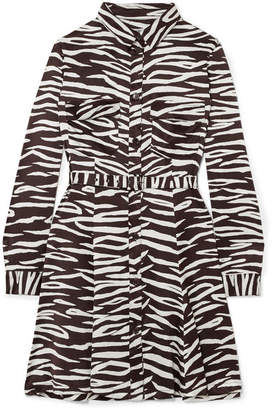 Ganni Zebra-print Stretch-silk Satin Mini Dress - Zebra print