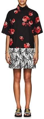 Prada Women's Rose-Print Cotton Shirtdress - Black