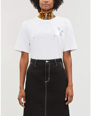 Mini Cream Holographic-star oversized jersey T-shirt