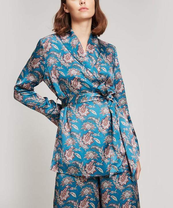 Liberty London Leontine Silk Satin Wrap Jacket