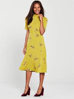 Warehouse Ochre Floral Midi Dress