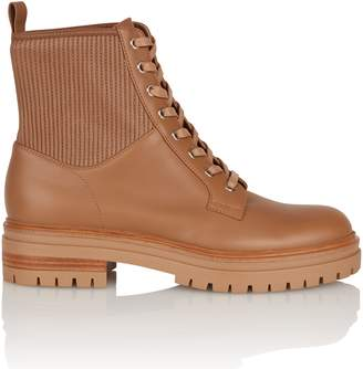 Gianvito Rossi Camel Leather Combat Boot