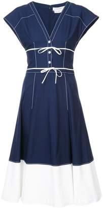 Carolina Herrera lace-up detailing flared dress