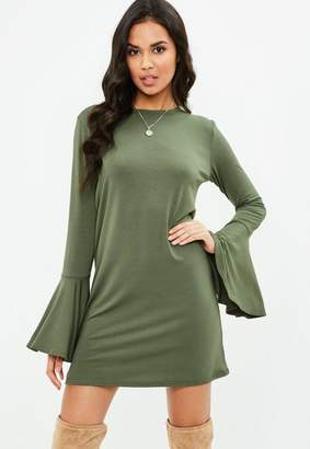 Missguided Green Frill Sleeve Shift Dress