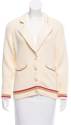 Frame Rib Knit Notch-Collar Cardigan