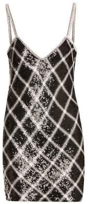 Ashish - Sequin Embellished Silk Mini Dress - Womens - Black White