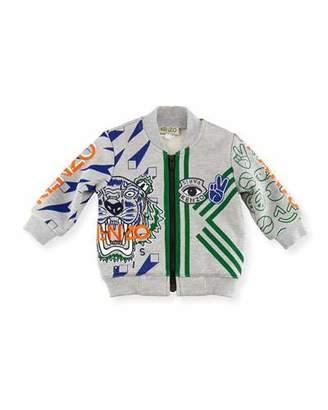 Kenzo Logo Allover Tiger Jacket, Gray, Size 2-3Y $156 thestylecure.com