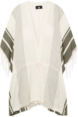 SU Paris Dita Fringed Striped Cotton And Tencel-blend Tunic