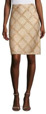 St. John Knit Metallic Plaid Pencil Skirt