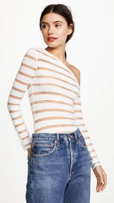 Yigal Azrouel One Shoulder Sheer Stripe Knit Top