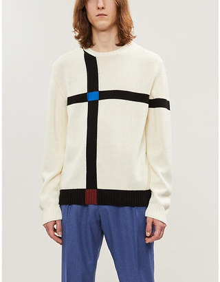 Joseph Graphic-intarsia crewneck cotton-knit jumper