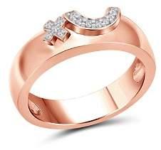 Love and Pride 14K Rose Gold Diamond Raised Female Insignia Ring