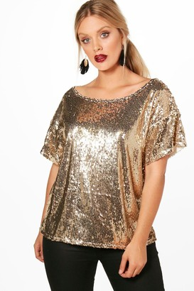 boohoo Plus Slash Sequin Neck Oversized Sequin Top