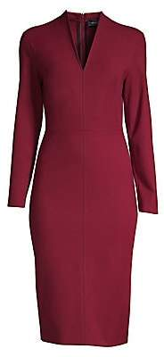 Piazza Sempione Women's V-Neck Stretch Wool Sheath Dress