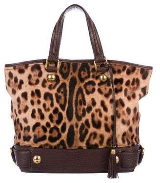 Dolce & Gabbana Leopard Print Leather-Trimmed Ponyhair Tote