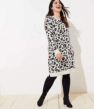 LOFT Plus Leopard Sweater Dress