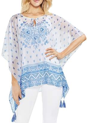 Vince Camuto Sheer Medallion-Print Poncho