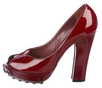 John Galliano Patent Leather Peep-Toe Pumps
