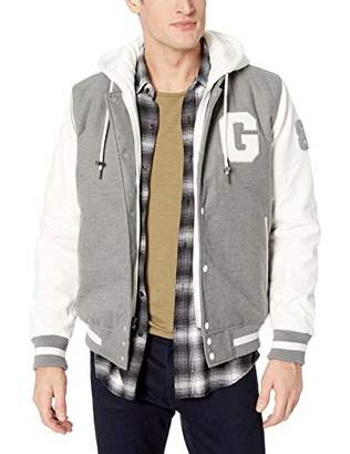 GUESS Men's Varsity with Hood and Pleather Sleeves