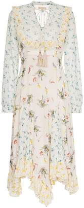 By Ti Mo By Timo floral drawstring front crepe dress